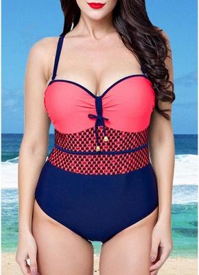 Women Swimsuit One Piece Swimwear Color Splice Ruched Underwire Swimsuit Beach Wear_3