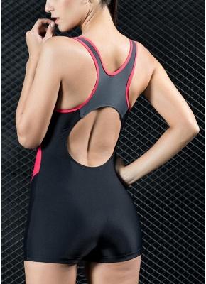 Women Sports One Piece Swimsuit Swimwear Shorts Splice Racing Training Bathing Suit_3