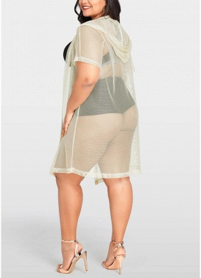 Women Sexy Bikini Cover Up Fishnet Hooded Cardigan Plus Size Outerwear Beachwear_5
