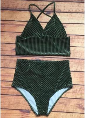Solid High Waist Velvet V-Neck Sexy Bikini Set_4