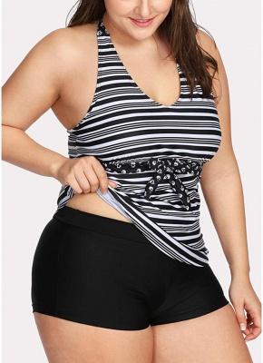 Women Plus Size Swimsuit Halter Striped Print Backless Two Piece Sexy Bikini Swimwear_4