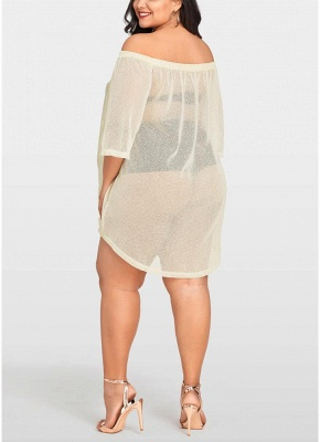 Women Sheer Cover Up Dress 3/4 Sleeve Sexy Bikini Cover-up Overall_3