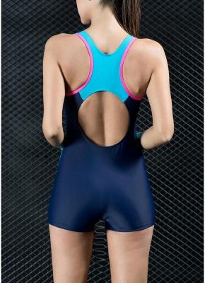 Women Sports One Piece Swimsuit Swimwear Shorts Backless Bathing Suit Swimming Suit_5