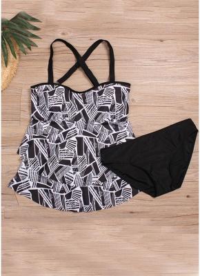 Women Plus Size Tankini Set Geometric Print Shoulder Strap Beachwear Swimwear Swimsuit_4
