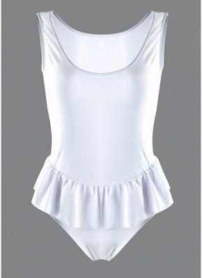 Women One Piece Swimwear Ruffle Monokini Swimsuit Brief Cut Solid Bathing Suit_3