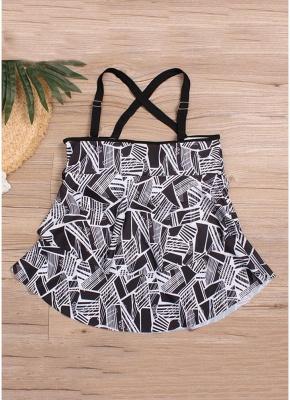 Women Plus Size Tankini Set Geometric Print Shoulder Strap Beachwear Swimwear Swimsuit_5