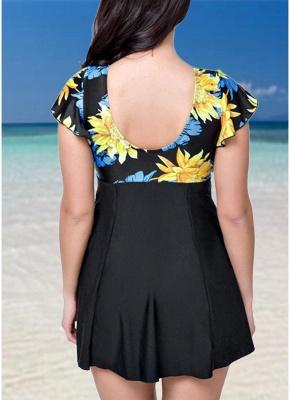 Plus Size Contrast Floral Print Underwire One Piece Swimsuit_4