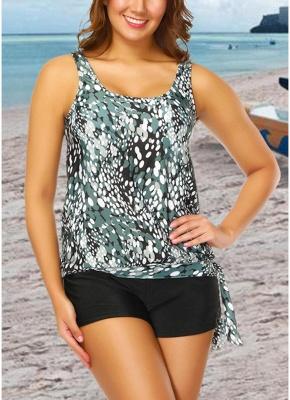 Women Plus Size Push Up Tankini Swimsuit Padded Swimwear Printed Bathing Suit_3