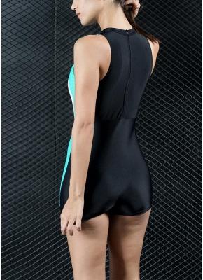 Women Sports One Piece Swimsuit Racing Swimwear Bathing Suit Beachwear Boxer Bodysuit_3