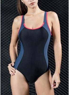 Women One Piece Swimsuit Panel Splicing Racing Sports Swimwear Racer Back Monokini_2