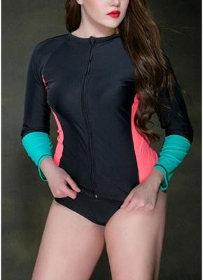 Large Size Wetsuit Contrast Color Zip Long Sleeve Swimsuit_2