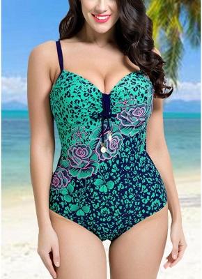 Women Large Size One Piece Swimwear Push Up Padding Wireless Swimsuit_3