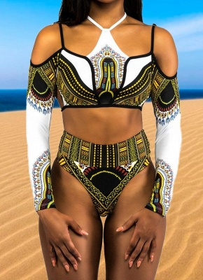 Women Plus Size High Waist Long Sleeves Sexy Bikini Set 2Pcs Swimsuit_1
