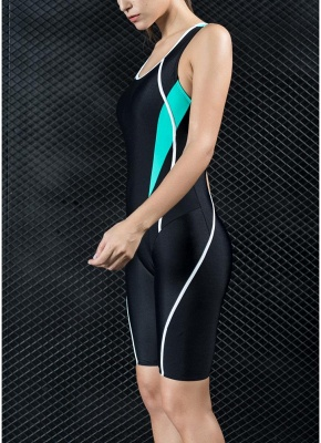 Women Professional Sports One Piece Swimsuit Swimwear Racing Competition Full Brief Knee Bathing Suit_4