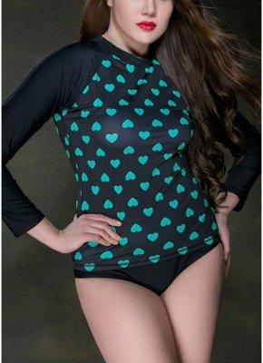 Women Plus Size Swim Diving Top Long Sleeves Heart Print_6