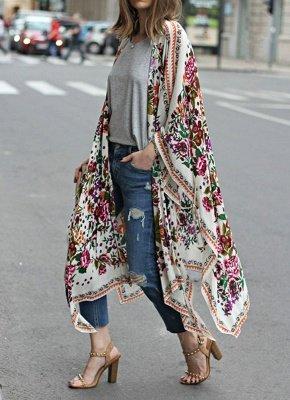 taille en mousseline de soie imprimé floral asymétrique Long Kimono lâche_3