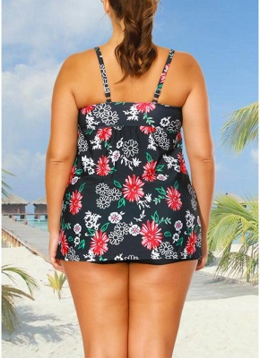 Plus Size Cami Top Boxer Triangle Floral Printed Spaghetti Strap Sleeveless Two Piece Set Swimsuit_5