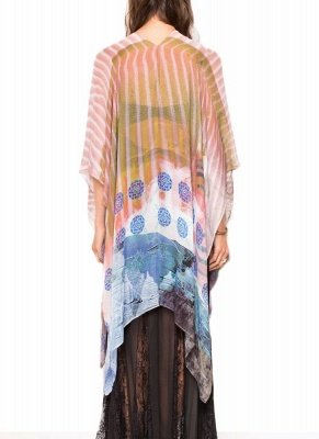 Front Floral Print 3/4 Sleeves Beach Thin Casual Outerwear_3