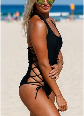 Halter Lace Up Waist Backless One Piece Swimsuit_4