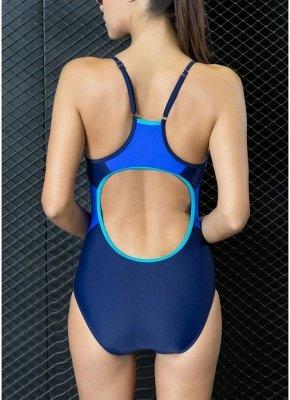 Femmes maillots de bain une pièce épissure couleur strappy sans manches rembourrage sans fil maillot de bain maillots de bain_6