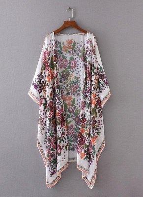 taille en mousseline de soie imprimé floral asymétrique Long Kimono lâche_4