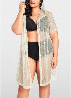 Femmes Bikini Cover Up Fishnet Cardigan à capuche Plus la taille Vêtements de plage_1