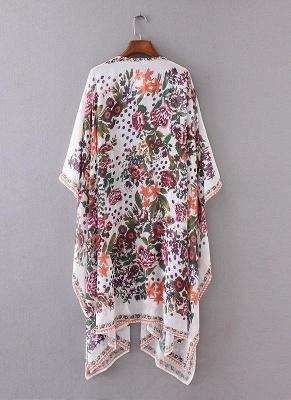 taille en mousseline de soie imprimé floral asymétrique Long Kimono lâche_5