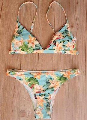 Floral Print Beading Trim Triangle Padded Bikini Set_6