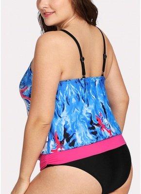 Women Padded Plus Size Swimsuit Push Up Printed Swimwear Bathing Suit_3