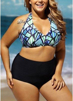 Plus Size Geometric Print Halter Backless High Waist Wireless Padding Sexy Bikini Set_3