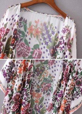 taille en mousseline de soie imprimé floral asymétrique Long Kimono lâche_6