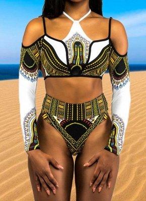 Femmes Sexy Plus la Taille Haute Taille Manches Longues Bikini Set 2Pcs Maillot de Bain_1