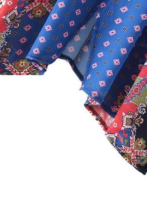 Boho en mousseline de soie imprimé géométrique lâche Kimono lâche_10