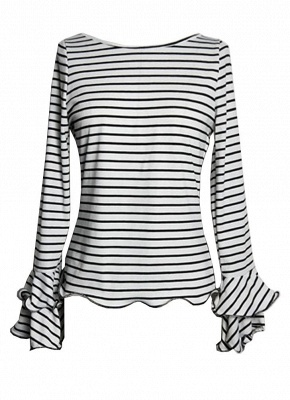 Women Stripe T-shirt Flare Sleeve Round Neck Layer Tops Blouse_3