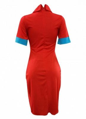 Solid Color Split Long T-Shirt Splice Detail Turn-Down Collar Short Sleeve Long Tee_5