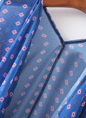 Boho en mousseline de soie imprimé géométrique lâche Kimono lâche_7