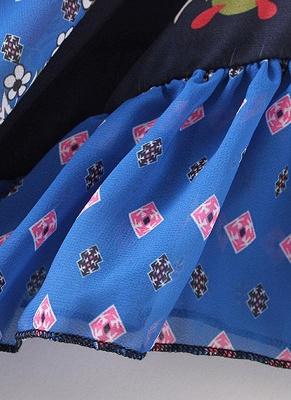 Boho en mousseline de soie imprimé géométrique lâche Kimono lâche_9