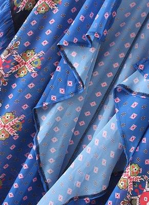 Boho en mousseline de soie imprimé géométrique lâche Kimono lâche_8