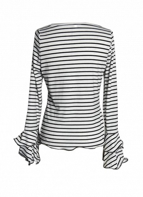 Women Stripe T-shirt Flare Sleeve Round Neck Layer Tops Blouse_4