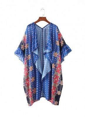 Boho en mousseline de soie imprimé géométrique lâche Kimono lâche_6