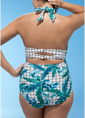 Plus Size Plaid Leaves Print Deep V Swimsuit Set_3