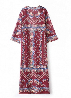 Boho Floral Print Open Front Three Quarter Sleeve Loose Long Kimono_6