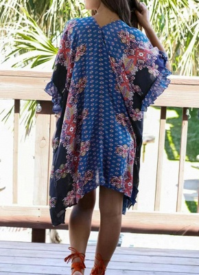 Boho en mousseline de soie imprimé géométrique lâche Kimono lâche_5