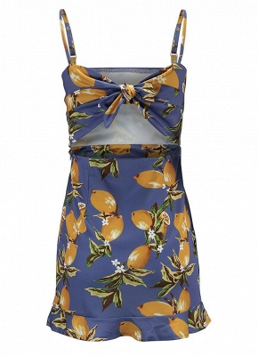 Women Floral Plaid Sweetheart Dress Bandage Knit Spaghetti Strap Mini Holiday Wear_5