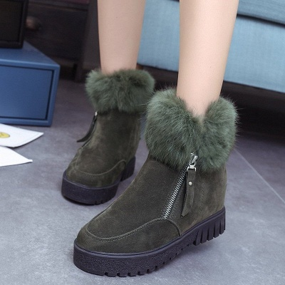 Zipper Fall Suede Chunky Heel Round Toe Boot