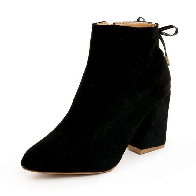 Chunky Heel Daily Lace-up Pointed Toe Zipper Elegant Boots_11
