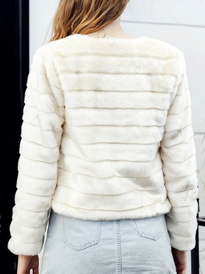 Beige Crew Neck Long Sleeve Fur and Shearling Coat_3