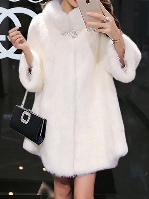 Long Sleeve Solid Shift Fluffy Fur and Shearling Coat_12