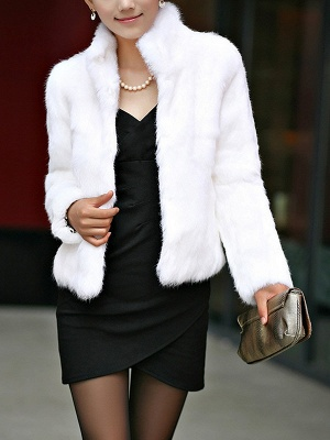 Stand Collar Solid Long Sleeve Fur and Shearling Coat