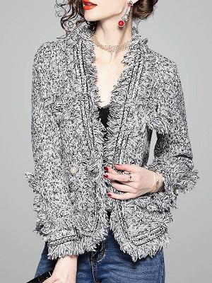 Gray Long Sleeve Casual Paneled Fur and Shearling Coat_1